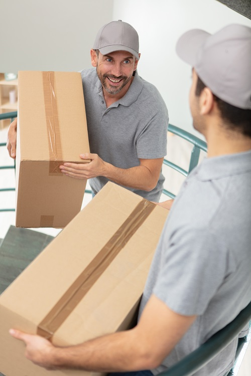 male professional movers carrying boxes up staircase
